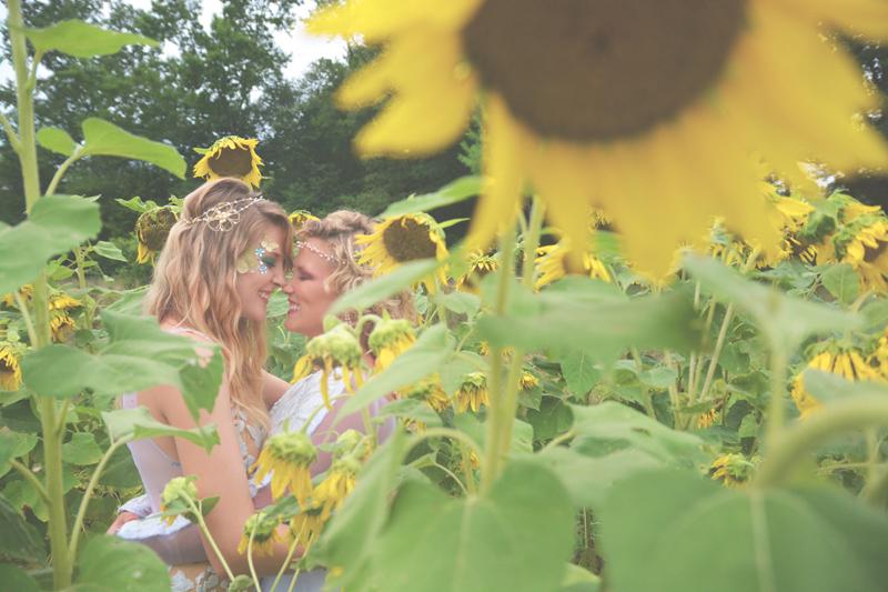 Same Sex Sunflower Field Wedding - Brooke + Cheyenne Elopement Picnic - Six Hearts Photography 01
