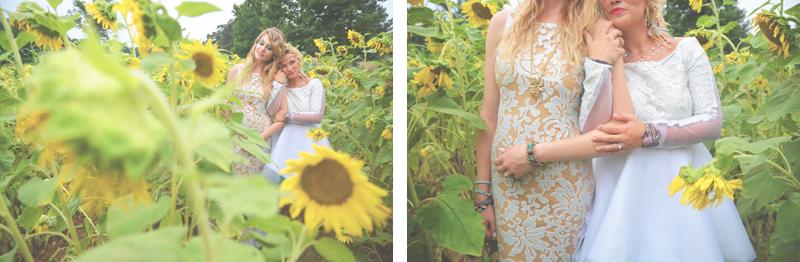 Same Sex Sunflower Field Wedding - Brooke + Cheyenne Elopement Picnic - Six Hearts Photography 02