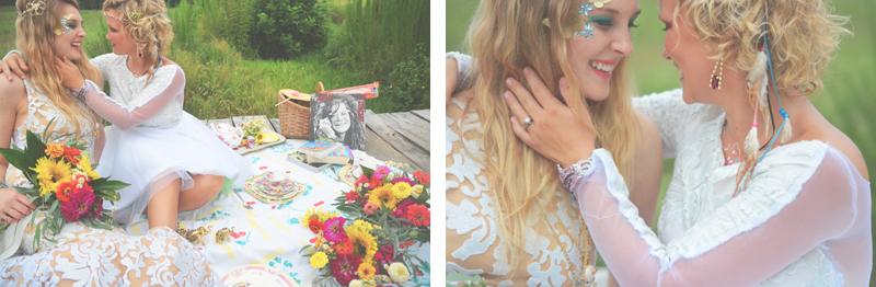 Same Sex Sunflower Field Wedding - Brooke + Cheyenne Elopement Picnic - Six Hearts Photography 15
