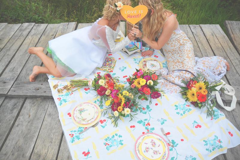 Same Sex Sunflower Field Wedding - Brooke + Cheyenne Elopement Picnic - Six Hearts Photography 17