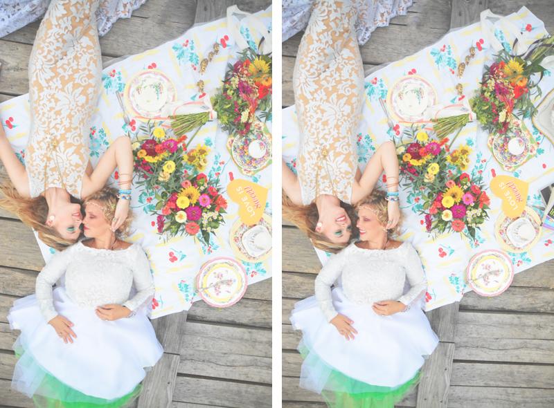 Same Sex Sunflower Field Wedding - Brooke + Cheyenne Elopement Picnic - Six Hearts Photography 20