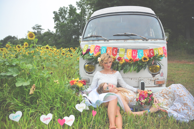 Same Sex Sunflower Field Wedding - Brooke + Cheyenne Elopement Picnic - Six Hearts Photography 32