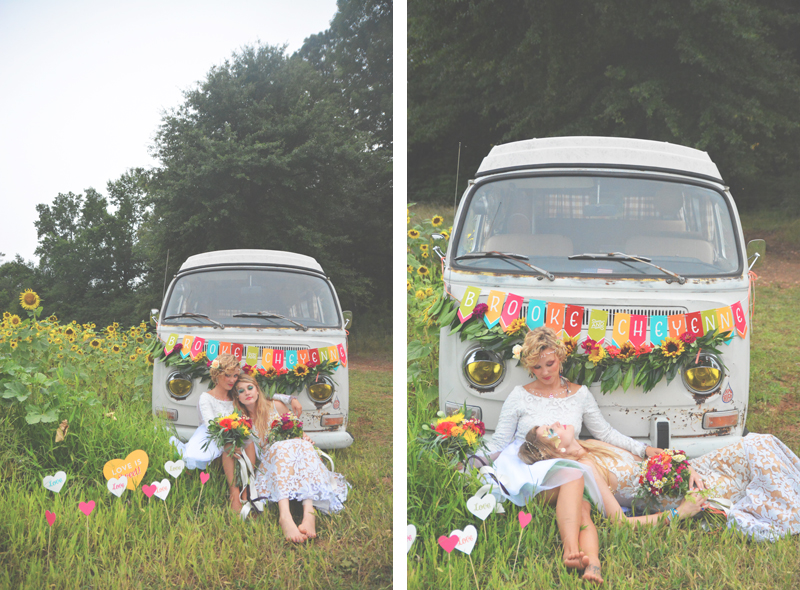 Same Sex Sunflower Field Wedding - Brooke + Cheyenne Elopement Picnic - Six Hearts Photography 33