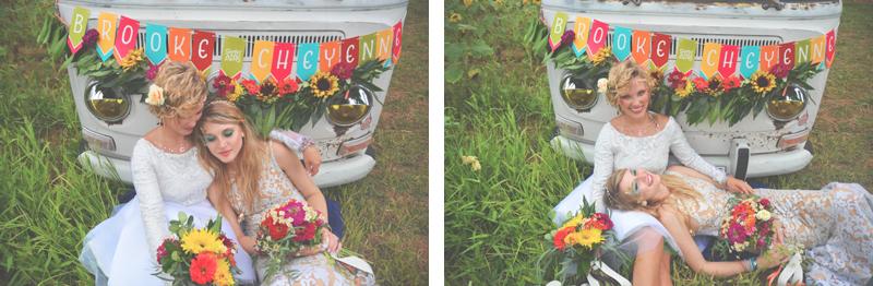 Same Sex Sunflower Field Wedding - Brooke + Cheyenne Elopement Picnic - Six Hearts Photography 35