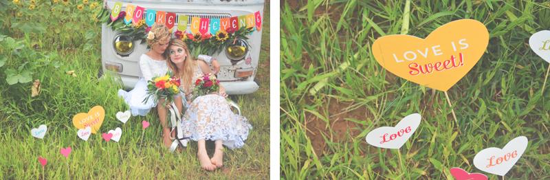 Same Sex Sunflower Field Wedding - Brooke + Cheyenne Elopement Picnic - Six Hearts Photography 36