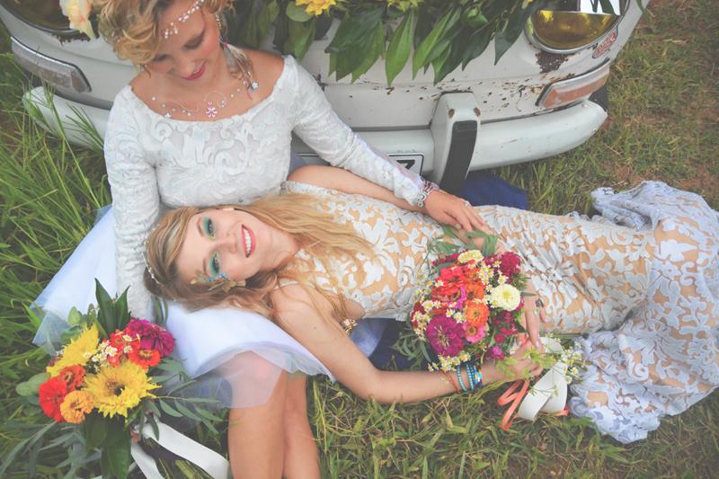 Same Sex Sunflower Field Wedding - Brooke + Cheyenne Elopement Picnic - Six Hearts Photography 37