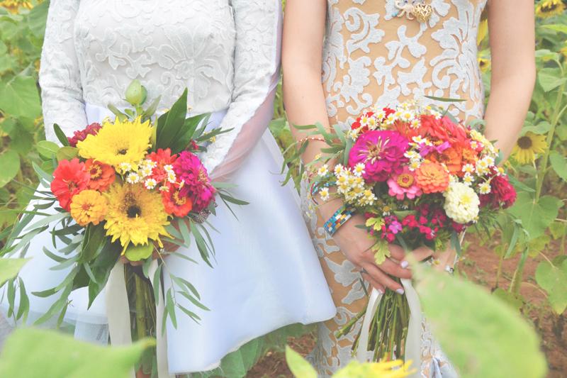 Same Sex Sunflower Field Wedding - Brooke + Cheyenne Elopement Picnic - Six Hearts Photography 46