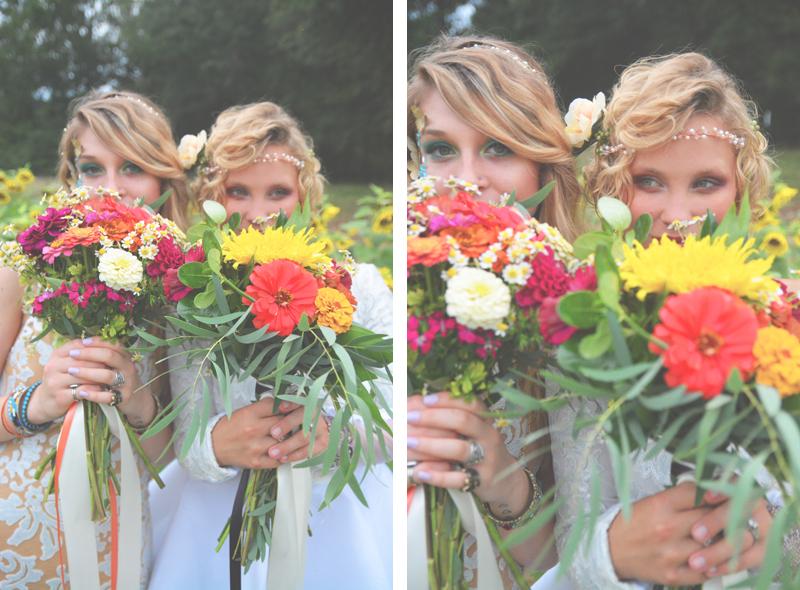 Same Sex Sunflower Field Wedding - Brooke + Cheyenne Elopement Picnic - Six Hearts Photography 48