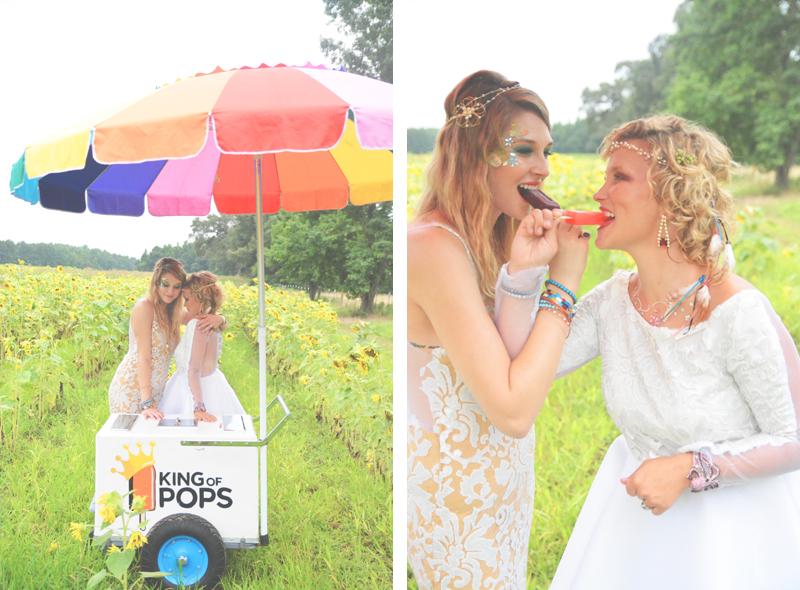 Same Sex Sunflower Field Wedding - Brooke + Cheyenne Elopement Picnic - Six Hearts Photography 61