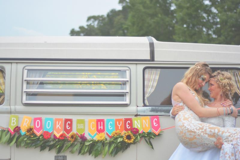 Same Sex Sunflower Field Wedding - Brooke + Cheyenne Elopement Picnic - Six Hearts Photography 76